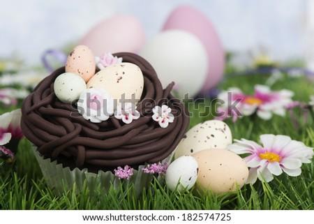 Easter egg nest cupcake - stock photo