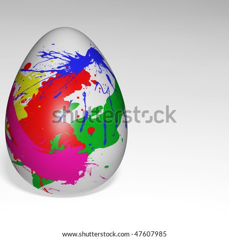 Easter egg on white background with creative paint