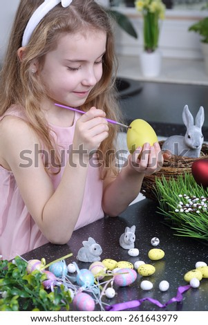 Easter egg painting - stock photo