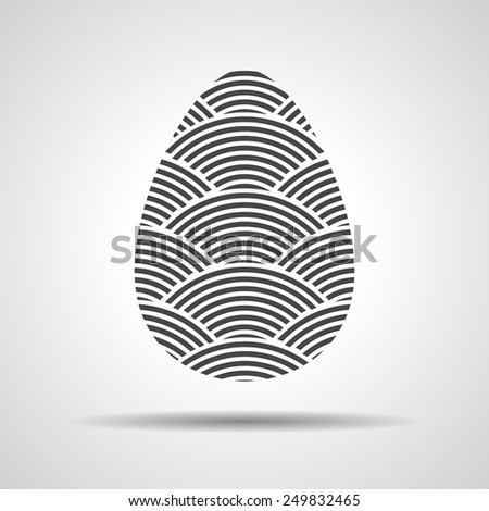 Easter egg sign icon with curved lines. Easter tradition symbol.