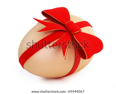 easter egg with bow on a white background