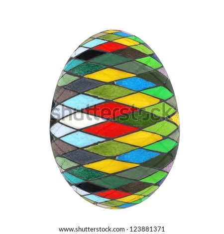 Easter Egg with colored strokes Isolated on white background. 3d - stock photo