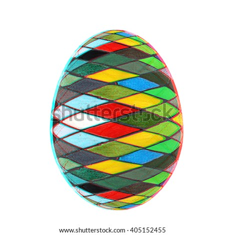 Easter Egg with colored strokes Isolated on white background. 3d. 3D illustration. Anaglyph. View with red/cyan glasses to see in 3D. - stock photo