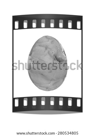 Easter Egg with colored strokes Isolated on white background. 3d. The film strip - stock photo