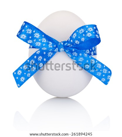 Easter egg with festive blue bow isolated on white background - stock photo