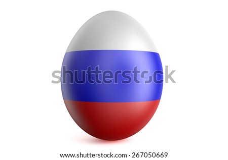 Easter egg with the flag of the Russia isolated on white background - stock photo