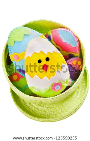 Easter eggs and a chicken handmade of felt - stock photo