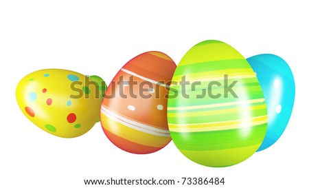 Easter eggs and chickens isolated on white background - stock photo
