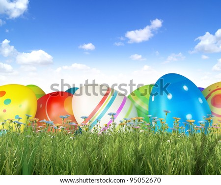 Easter eggs and chickens on sky background