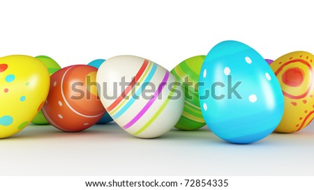 Easter eggs and chickens on white background - stock photo