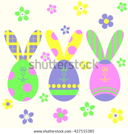Easter eggs and Easter bunny template. Colorful Easter background.