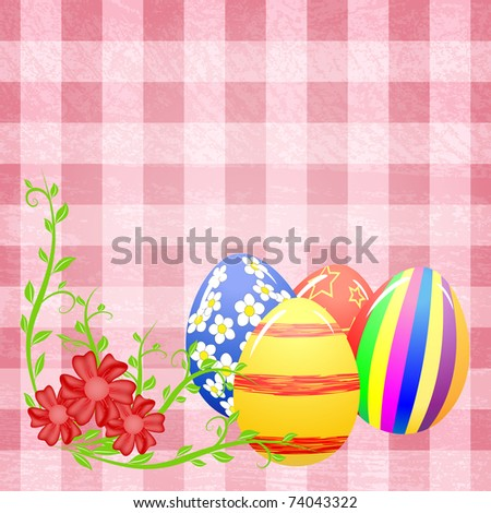 Easter eggs and flowers on the pink splotchy background - stock photo