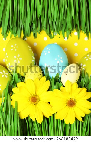 Easter eggs and grass on colorful paper background - stock photo