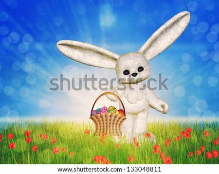 Easter eggs are in basket and bunny on a sunny poppy field background. - stock photo