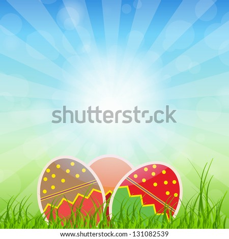 Easter eggs card with colourful eggs.  illustration