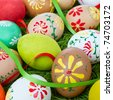 easter eggs collection in a basket - stock photo