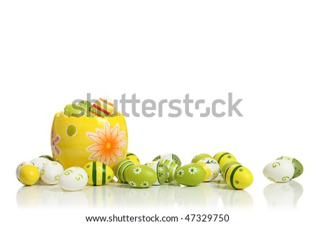Easter eggs collection,  isolated on white background - stock photo