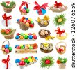 Easter eggs , collection set  isolated on a white background - stock photo