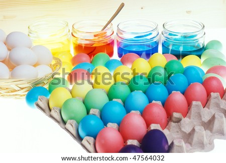 Easter eggs' coloration - stock photo