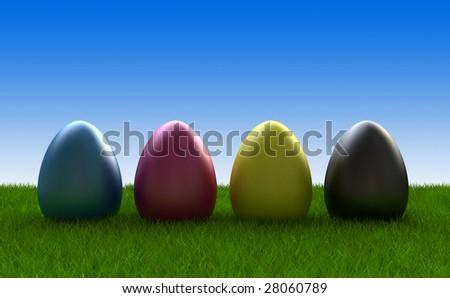 easter eggs coloured in cmyk - stock photo