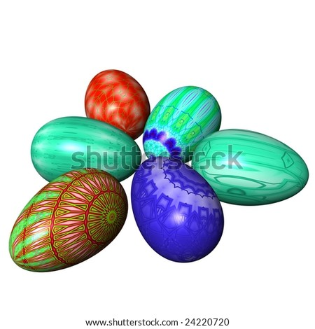 easter eggs composition isolated on the white background