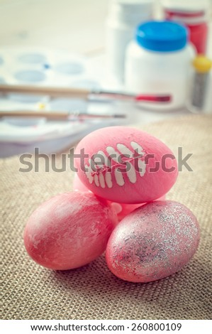 Easter eggs, creating Easter decoration, vintage tone - stock photo