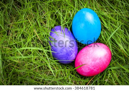 Easter eggs deep into green grass