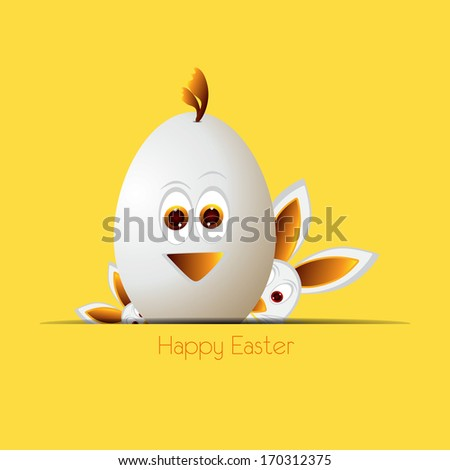 easter eggs, easter bunny, - stock photo