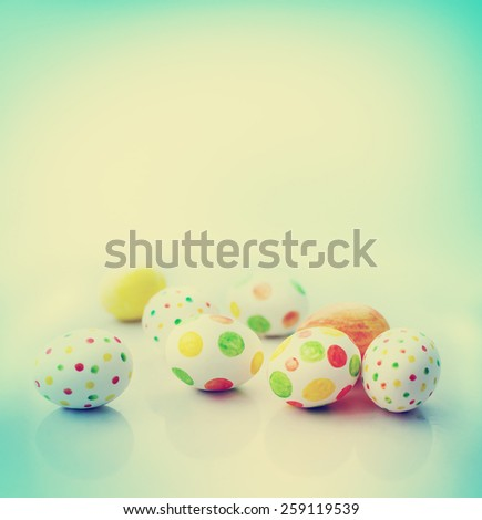 Easter eggs / easter holidays spring background  - stock photo