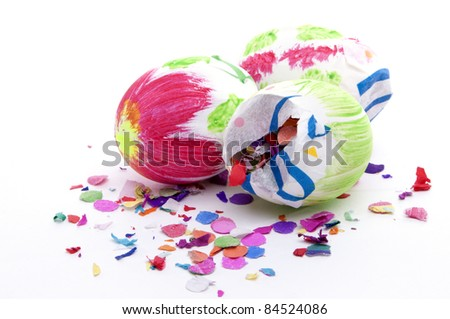 Easter eggs filled with Confetti - stock photo