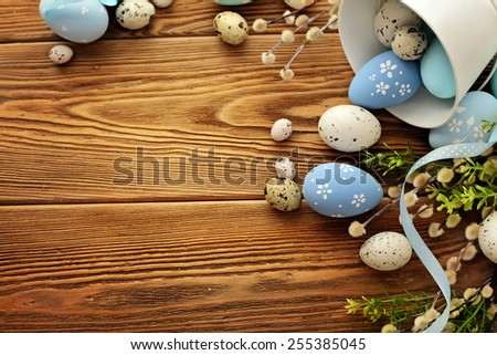 easter eggs frame background - stock photo