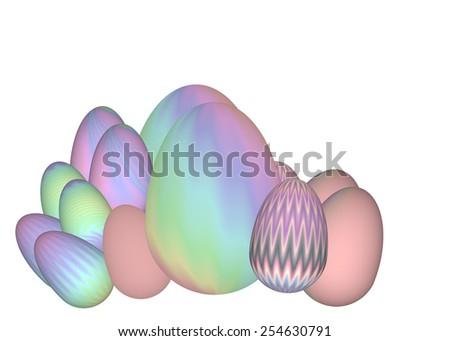 Easter eggs illustration background - stock photo