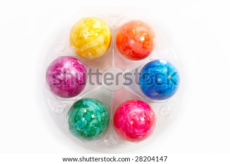 easter eggs in a box - stock photo