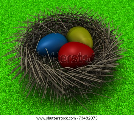 Easter Eggs in a Nest on grass.3D render of a decoration motive. - stock photo
