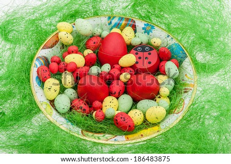 Easter eggs in a plate