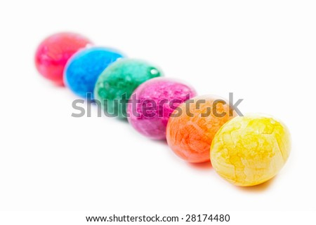 easter eggs in a row - stock photo