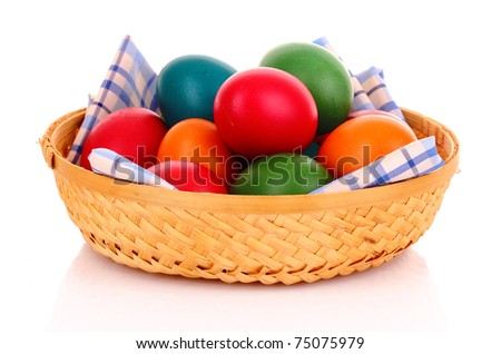 Easter eggs in backet isolated on white - stock photo