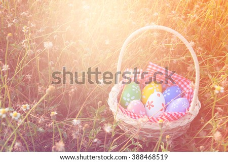 Easter eggs in basket on grass field with fill color filters
