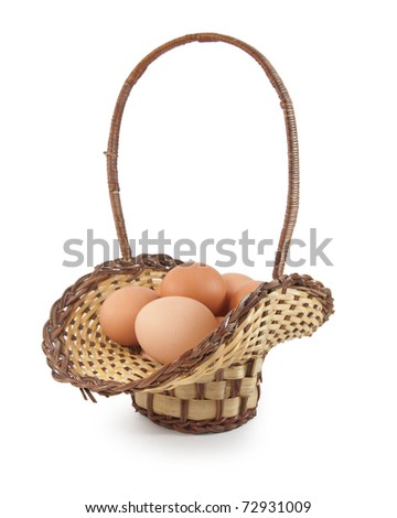 Easter eggs in brown basket on a white background