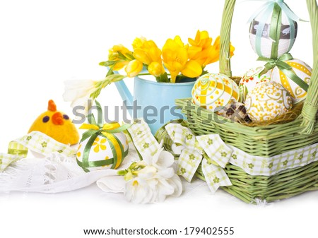 Easter eggs in green basket with chickens from felt - stock photo