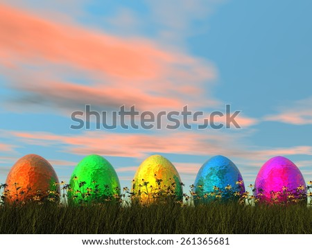 Easter eggs in nature by sunset- 3D render