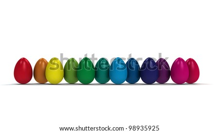 easter eggs in the colors of the rainbow