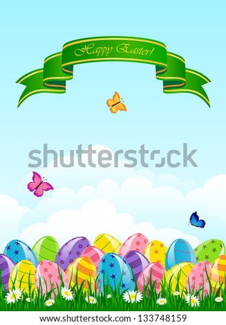 Easter eggs in the grass against the sky, illustration.