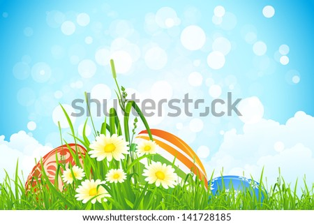 Easter Eggs in the Grass with Flowers and Clouds