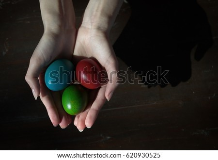 Easter eggs in the hands of