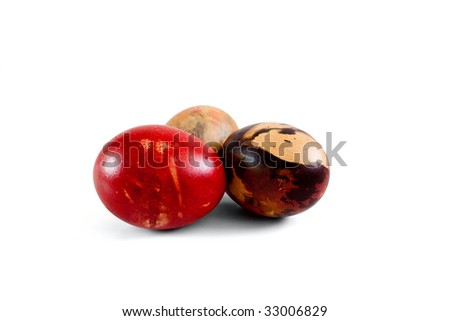 Easter eggs isolated from white