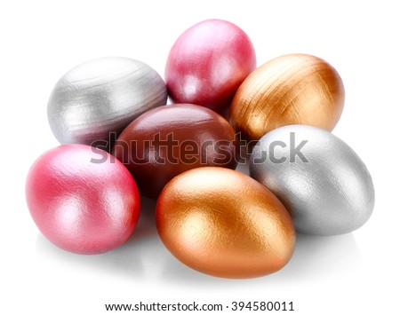 Easter eggs isolated on white background - stock photo