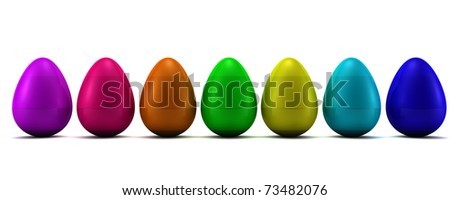 Easter eggs isolated on white. 3D render - stock photo