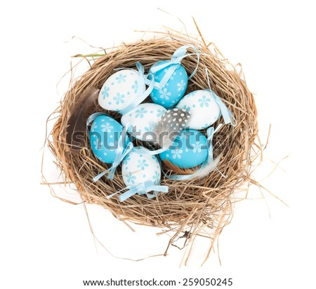 Easter eggs nest. Isolated on white background