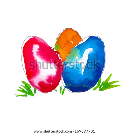 Easter eggs of ink spots. Happy Easter! Raster - stock photo